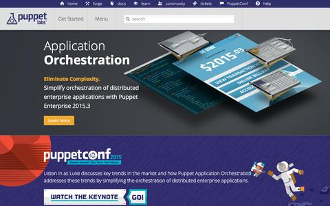 Screenshot of Home Page puppetlabs.com - Puppet Labs: IT Automation Software for System Administrators - captured Oct. 22, 2015