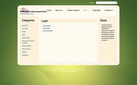 Screenshot of Login Page megapoultry.com - Login  |  Mega Poultry Company (Pvt) Ltd. - captured Nov. 28, 2016