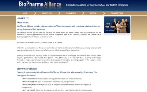 Screenshot of About Page biopharmaalliance.com - about - captured Sept. 30, 2014