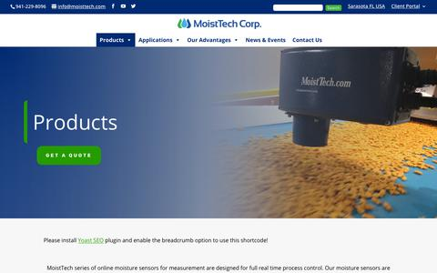 Screenshot of Products Page moisttech.com - Products | Moist Tech - captured Dec. 7, 2018