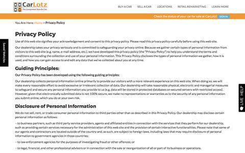 Screenshot of Privacy Page carlotz.com - Privacy Policy | CarLotz - captured April 3, 2017