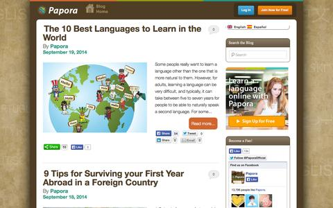 Screenshot of Blog papora.com - Papora Blog | Language Learning, Culture, Living AbroadPapora Blog | Language Learning, Culture, Living Abroad - captured Sept. 23, 2014