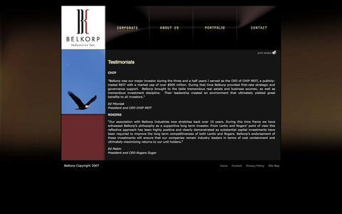 Screenshot of Testimonials Page belkorp.com - Belkorp Industries Inc. - captured Oct. 5, 2014