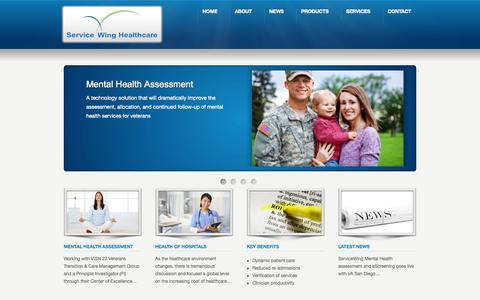Screenshot of Home Page servicewing.com - Service Wing Healthcare - Solutions That Make Sense - captured Oct. 6, 2014