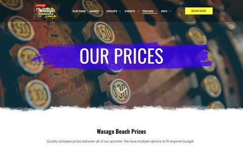 Screenshot of Pricing Page wasagaadventurepark.com - Our Pricing | Wasaga Beach Adventure Park - captured Oct. 18, 2018