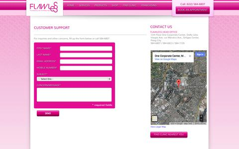 Screenshot of Support Page flawless.com.ph - FLAWLESS | Powered by Skin Professionals - captured Oct. 6, 2014