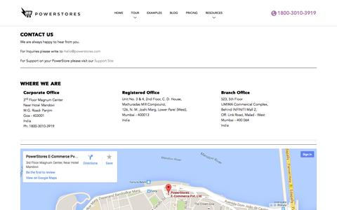 Screenshot of Contact Page powerstores.in - Contact | Email | Phone | Office Address | PowerStores - captured Sept. 17, 2014