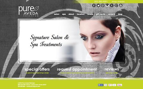 Screenshot of Home Page visitpure.com - Home | Pure Aveda Salonspa | Mount Dora, Florida - captured Oct. 3, 2014