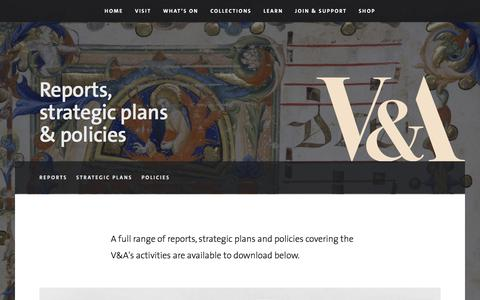 Screenshot of Privacy Page vam.ac.uk - V&A · Reports, strategic plans & policies - captured Nov. 29, 2016