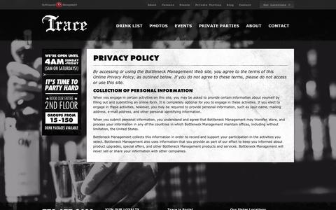Screenshot of Privacy Page tracechicago.com - Privacy Policy | Trace Chicago - captured Oct. 6, 2014