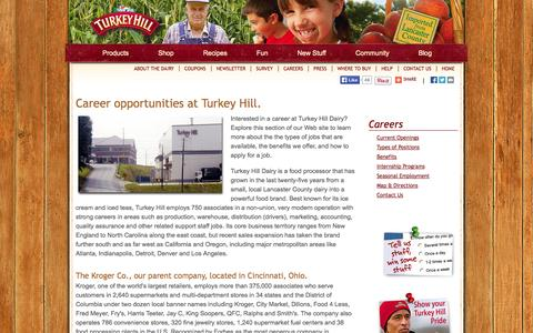 Screenshot of Jobs Page turkeyhill.com - Careers | Turkey Hill Dairy | Imported From Lancaster County - captured Sept. 22, 2014