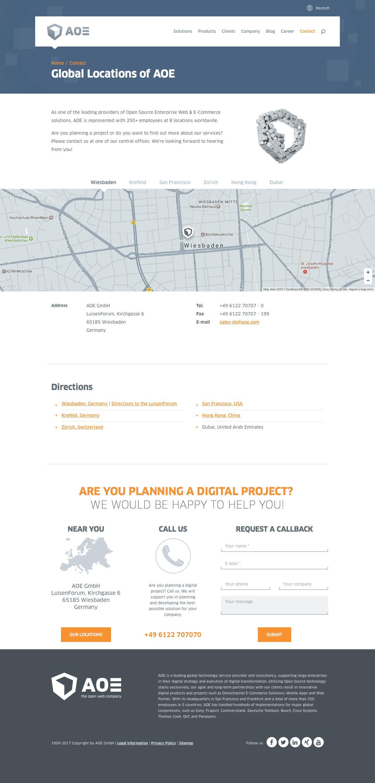 Screenshot of aoe.com - Global Locations of AOE | aoe.com - captured March 28, 2017