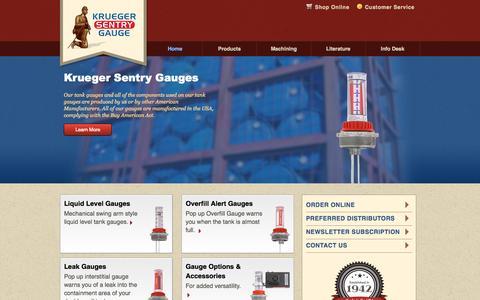 Screenshot of Home Page ksentry.com - Krueger Sentry Gauge - Liquid Level Gauges - captured Sept. 6, 2015