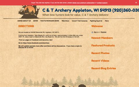 Screenshot of Maps & Directions Page ctarchery.com - C & T  Archery  Appleton WI 54913    920-360-0304 - DIRECTIONS - captured Aug. 5, 2018