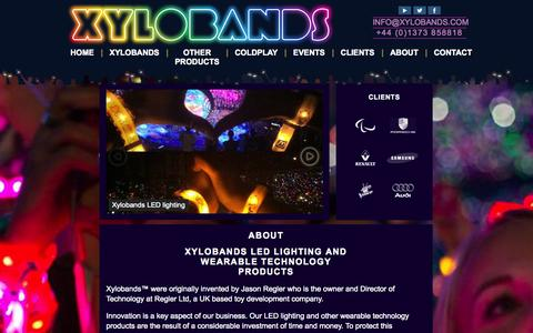 Screenshot of About Page xylobands.com - About Xylobands LED Lighting and wearable technology products | Xylobands - captured Oct. 26, 2014