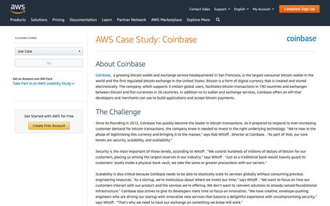 Screenshot of Case Studies Page amazon.com - AWS Case Study: Coinbase - captured May 8, 2019