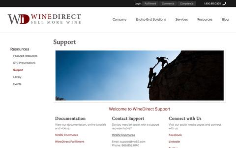 Screenshot of Support Page winedirect.com - WineDirect - Resources - Support - captured Jan. 14, 2016