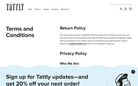 TERMS AND CONDITIONS - TATTLY – Tattly Temporary Tattoos