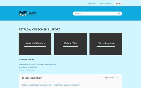 Screenshot of Support Page petflow.com - PetFlow | Support - captured July 18, 2014