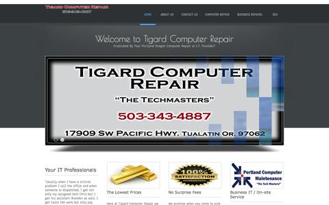 Screenshot of Home Page tigard-computer-repair.com - Tigard Computer Repair - captured Sept. 20, 2015