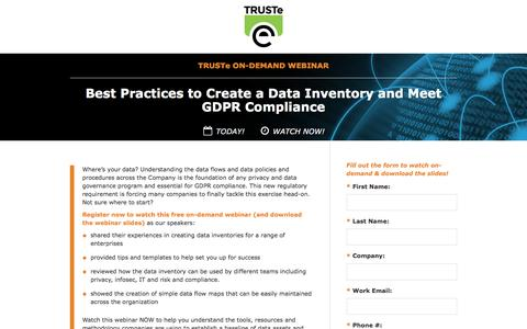 Screenshot of Landing Page truste.com - [On-Demand Privacy Webinar] Best Practices to Create a Data Inventory and Meet GDPR Compliance - captured March 24, 2017