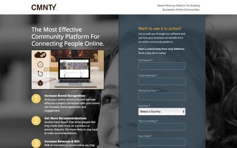 Screenshot of Landing Page cmnty.com - Online Community Platform Software - captured May 3, 2016