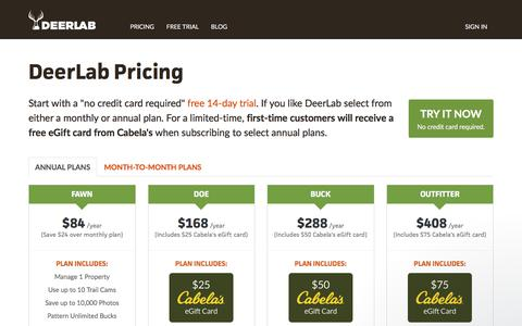 Screenshot of Pricing Page deerlab.com - Jon says… - captured Aug. 6, 2018
