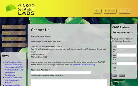 Screenshot of Contact Page ginkgostreet.com - Contact Us | Ginkgo Street Labs - captured Oct. 2, 2014
