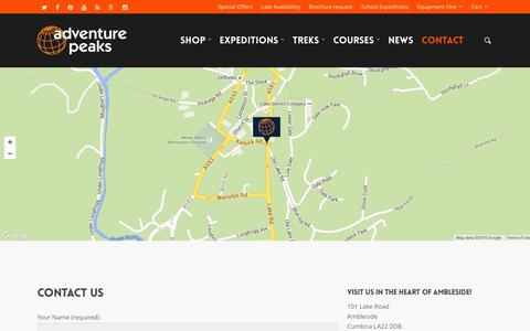 Screenshot of Contact Page adventurepeaks.com - Contact - Adventure Peaks - captured March 5, 2016