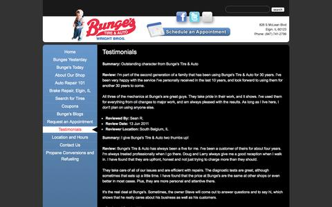 Screenshot of Testimonials Page bungestire.com - Testimonials | Reviews | Bunge's Tire & Auto | Elgin IL | Great Service - captured Oct. 5, 2014