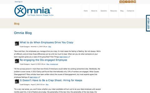 Screenshot of Blog omniagroup.com - Interviewing | Management | Employment Articles | Omnia Blog | Omnia Group - captured Dec. 1, 2016