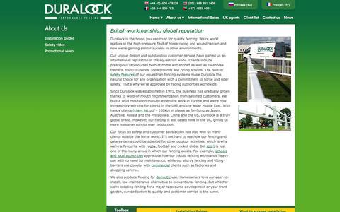 Screenshot of About Page duralock.com - British workmanship, global reputation - captured Oct. 5, 2014