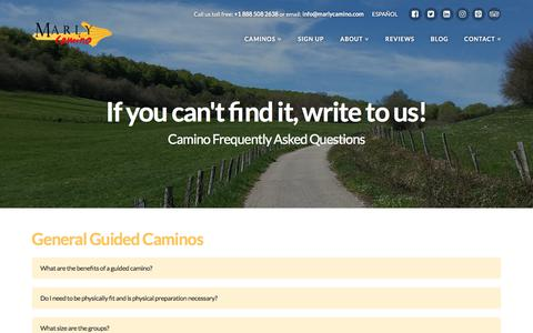 Screenshot of FAQ Page marlycamino.com - Camino Frequently Asked Questions - Everything you wanted to know! - captured Oct. 17, 2017