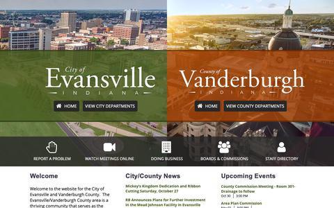Screenshot of Home Page evansvillegov.org - Welcome to Evansville and Vanderburgh County / City of Evansville - Vanderburgh County - captured Oct. 30, 2018
