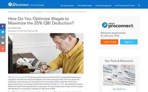 Screenshot of Press Page intuit.com - How Do You Optimize Wages to Maximize the 20% QBI Deduction? | Tax Pro Center | Intuit ProConnect - captured Nov. 21, 2019