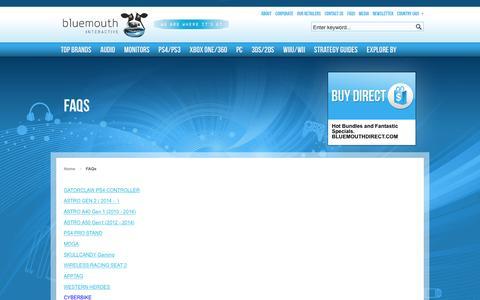 Screenshot of FAQ Page bluemouth.com - FAQs - captured Feb. 7, 2016