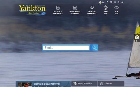 Screenshot of Home Page cityofyankton.org - City of Yankton, SD : Home - captured Jan. 28, 2016
