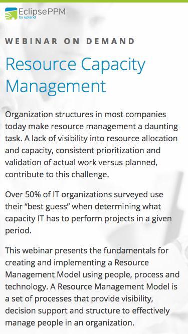 Eclipse PPM Webinar: Resource Capacity Management Webinar