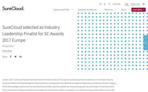 Screenshot of Team Page surecloud.com - SureCloud selected as Industry Leadership Finalist for SC Awards 2017 Europe - captured Dec. 3, 2019