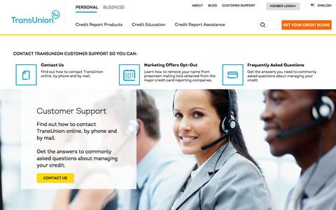 Screenshot of Support Page transunion.com - Customer Support |Transunion - captured Dec. 7, 2015