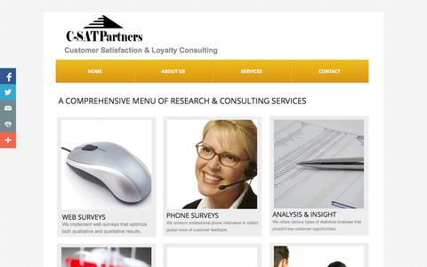 Screenshot of Menu Page c-satpartners.com - Menu of Customer Satisfaction Consulting Services - captured Sept. 26, 2014