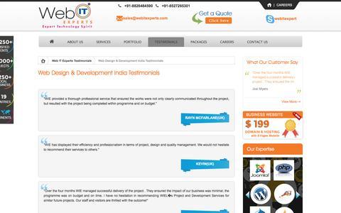 Screenshot of Testimonials Page webitexperts.com - Affordable Web Development India | Web Designing Company India | Web Design Client Testimonials - captured Nov. 30, 2016