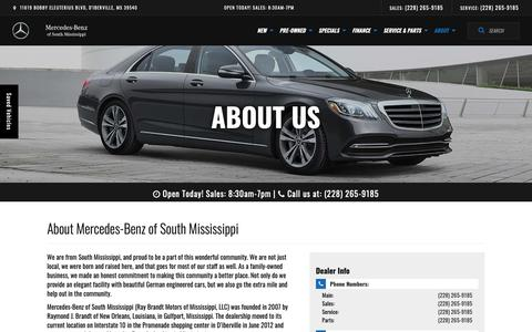 Screenshot of About Page mbofsm.com - Mercedes-Benz and Used Car Dealer in D'Iberville | Mercedes-Benz of South Mississippi - captured Nov. 15, 2018