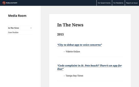 Screenshot of Press Page publicstuff.com - PublicStuff - captured Dec. 1, 2015