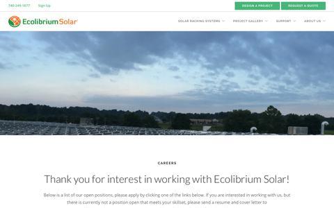 Screenshot of Jobs Page ecolibriumsolar.com - Careers | Ecolibrium Solar - captured Sept. 12, 2019