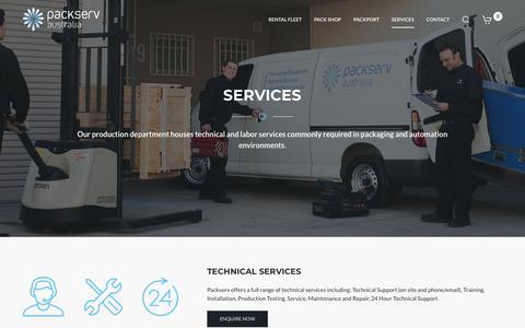 Screenshot of Services Page packserv.com.au - Services - captured Dec. 13, 2018