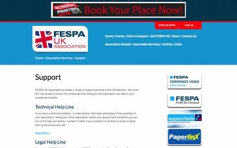 Screenshot of Support Page fespauk.com - Support – FESPA UK ASSOCIATION - captured Oct. 5, 2014