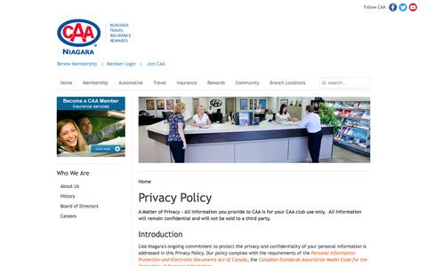 Screenshot of Privacy Page caaniagara.ca - Privacy Policy | CAA - captured July 9, 2016