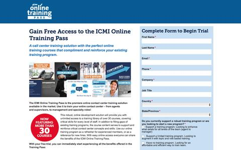 Screenshot of Trial Page icmi.com - Call Center Training Solutions - Online Training Course | ICMI - captured Dec. 18, 2015