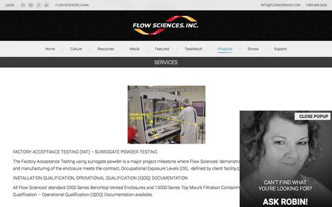 Screenshot of Services Page flowsciences.com - Services - Flow Sciences - captured Oct. 14, 2017